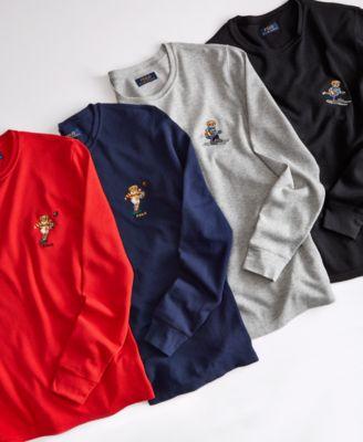 Men's Ski & Rugby Bear Waffle Pajama Shirt, Created for Macy's