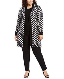 Plus Size Metallic Geo-Print Duster Cardigan