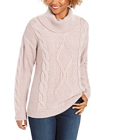 Cowl-Neck Cable-Knit Glitter Sweater, Created For Macy's