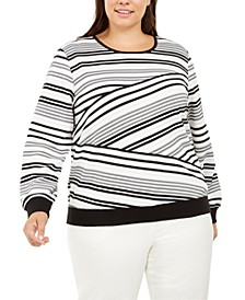 Plus Size Well Red Striped Top