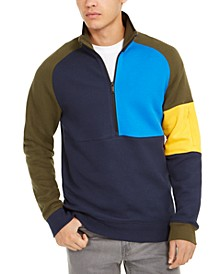 Men's Quarter-Zip Colorblocked Fleece Sweater