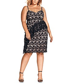 Trendy Plus Size Illustrious Embroidered Lace Dress