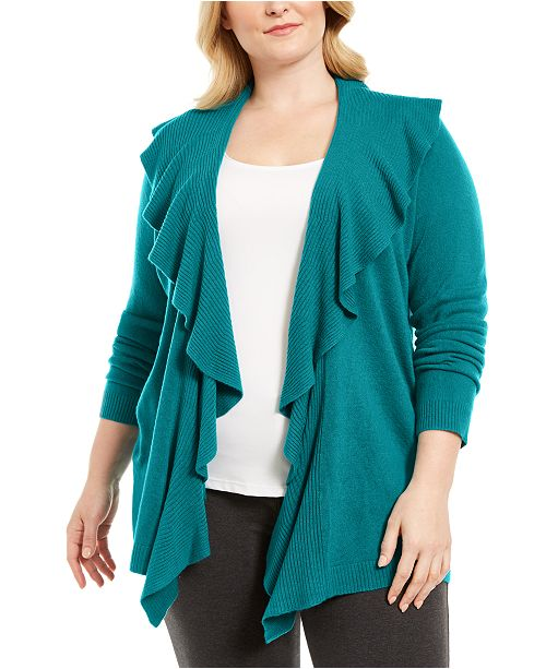 Karen Scott Plus Size Ruffle Neckline Cardigan Sweater, Created For Macy's