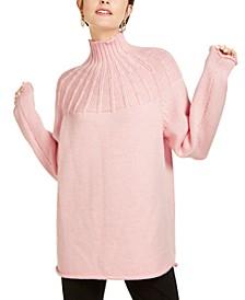 Wool Ribbed-Yoke Turtleneck Sweater