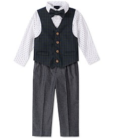 Nautica Little Boys Regular-Fit 4-Pc. Green Tartan Vest Set