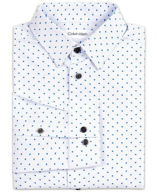 Calvin Klein Big Boys Stretch Shadow Dot Stripe Dress Shirt