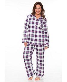 White Mark Plus Flannel Pajama Set
