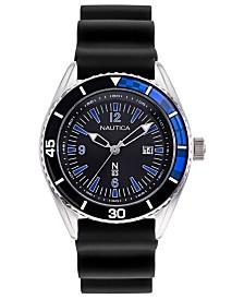 Nautica N83 Men's Urban Surf Black, Blue Silicone Strap Watch 44mm
