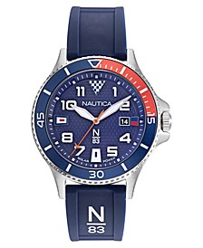 N83 Men's Cocoa Beach Solar Navy, Red Silicone Strap Watch 43mm
