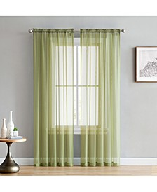 """Lucido By Canberra Sheer Voile Rod Pocket Curtain Panels - 54"""" W X 84"""" L - Set of 2"""