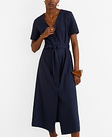 Mango Buttoned Linen-Blend Dress