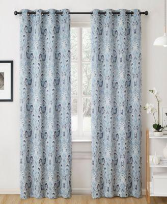 Obscura by Melton Paisley Blackout Grommet Curtain Panels - 50 W x 96 L - Set of 2