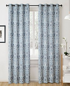 "Obscura By Melton Paisley Blackout Grommet Curtain Panels - 50"" W X 96"" L - Set of 2"