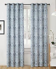 Obscura Melton Paisley Blackout Grommet Curtain Panels - 50 W x 63 L - Set of 2