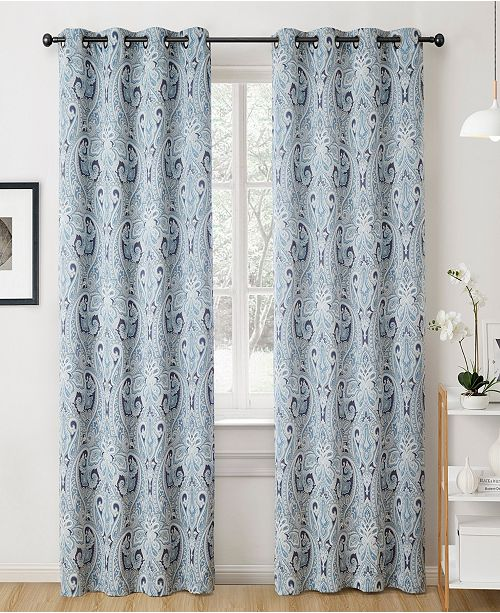 "HLC.me Obscura By Melton Paisley Blackout Grommet Curtain Panels - 50"" W X 63"" L - Set of 2"
