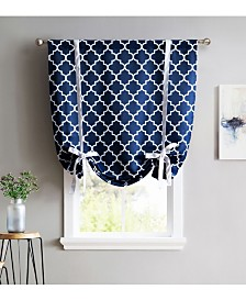 """Obscura By HLC.me Bunbury"""" Lattice Print Blackout Tie Up Balloon Shade - 46"""" W X 63"""" L"""
