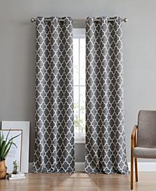 Obscura Bunbury Lattice Print Blackout Grommet Curtain Panels - 37 W x 84 L - Set of 2