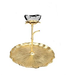 Gold Round Chip And Dip Bowl with Lotus Flower Design