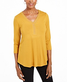 3/4-Sleeve Studded Top, Created For Macy's