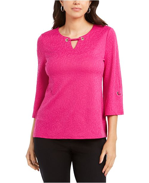 JM Collection Textured Grommet-Trim Keyhole Top, Created for Macy's