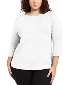 Plus Size Grommet-Trim Envelope-Neck Top, Created For Macy's