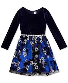 Rare Editions Little Girls Velvet & Glitter Mesh Dress