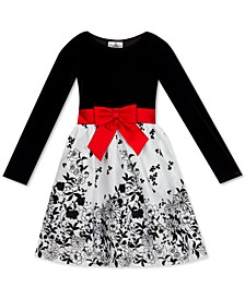 Big Girls Plus Size Flocked Velvet Bow Dress