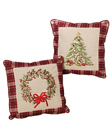 Plush Throw Pillows with Wreath and Christmas Tree Holiday Accents