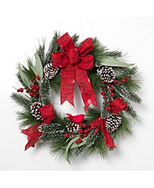 24-Inch Holiday Mixed Flocked Pine Wreath with Berry Clusters and Burlap Ribbon Accent