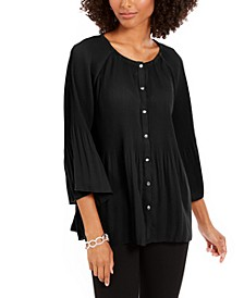 Petite Pleated Button-Front Bell-Sleeve Top
