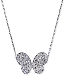 Diamond Butterfly Pendant Necklace (1/3 ct. t.w.) in 14k White Gold