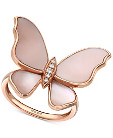 EFFY® Mother-of-Pearl & Diamond Accent Butterfly Ring in 14k Rose Gold