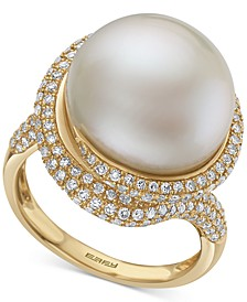 EFFY® Cultured Freshwater Pearl (14mm) & Diamond (1-1/20 ct. t.w.) Ring in 14k Gold