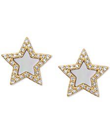 EFFY® Mother-of-Pearl & Diamond (1/5 ct. t.w.) Stud Earrings in 14k Gold