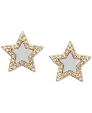 Effy Mother-of-Pearl & Diamond (1/5 ct. t.w.) Stud Earrings in 14k Gold
