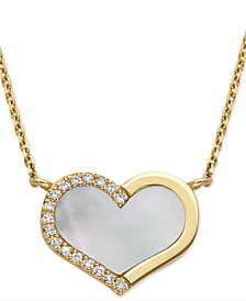 "EFFY® Mother-of-Pearl & Diamond (1/20 ct. t.w.) Heart 18"" Pendant Necklace in 14k Gold"