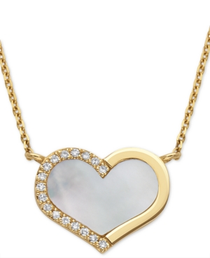 """Effy Mother-of-Pearl & Diamond (1/20 ct. t.w.) Heart 18"""" Pendant Necklace in 14k Gold"""