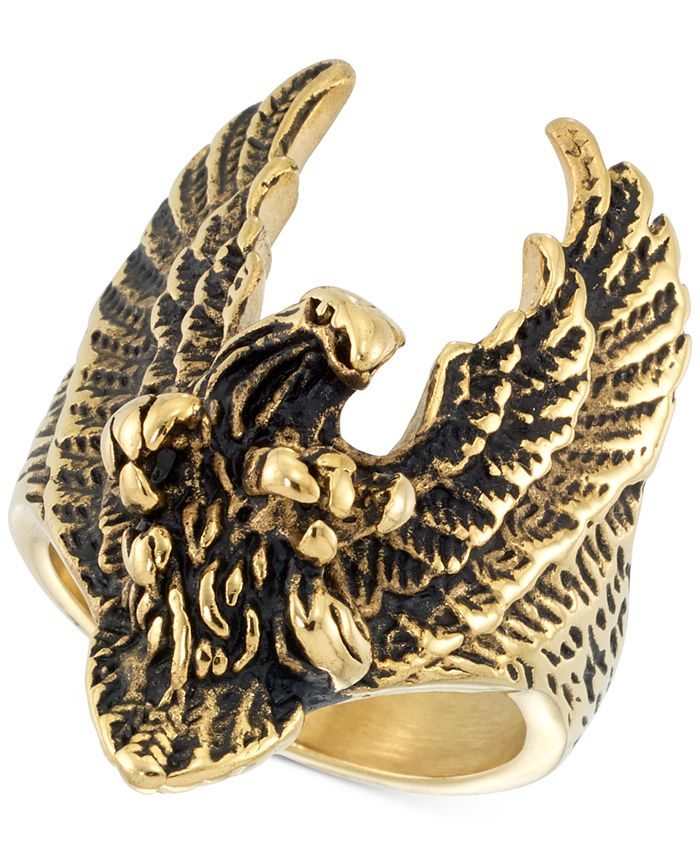 LEGACY for MEN by Simone I. Smith - Yellow & Black Ion-Plated Eagle Ring in Stainless Steel