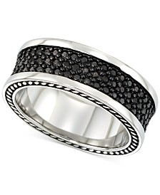 LEGACY for MEN by Simone I. Smith Men's' Black Ion-Plated Ring in Stainless Steel