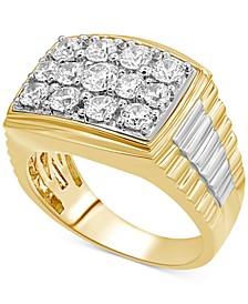 Men's Diamond Ring (2 ct. t.w.) in 10k Gold & 10k White Gold