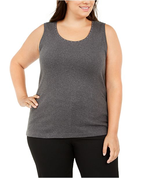 Karen Scott Plus Size Cotton Studded Tank Top, Created for Macy's