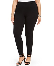 Plus Size Lace-Trim Leggings, Created for Macy's