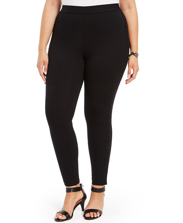 Style & Co Plus Size Lace-Trim Leggings, Created for Macy's