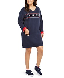 Plus Size Logo-Print Sweatshirt Dress