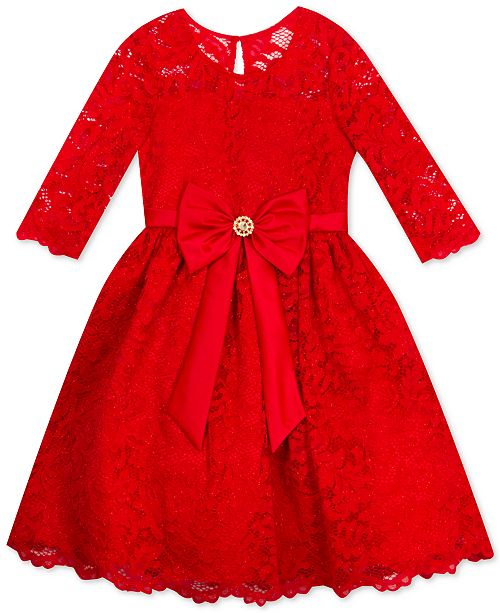 Rare Editions Big Girls Plus Size Lace Bow Dress