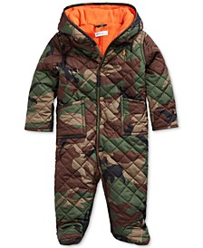 Baby Boys Matte Microfiber Camo-Print Bunting Coat