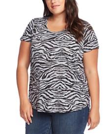 Vince Camuto Plus Size Zebra-Print T-Shirt