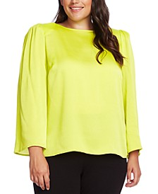 Plus Size Satin Shoulder Pad Blouse