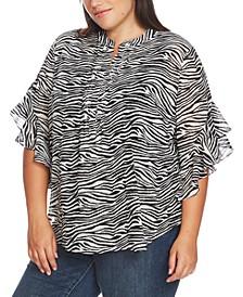 Plus Size Wavy Zebra-Print Flutter-Sleeve Blouse