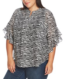 Vince Camuto Plus Size Wavy Zebra-Print Flutter-Sleeve Blouse